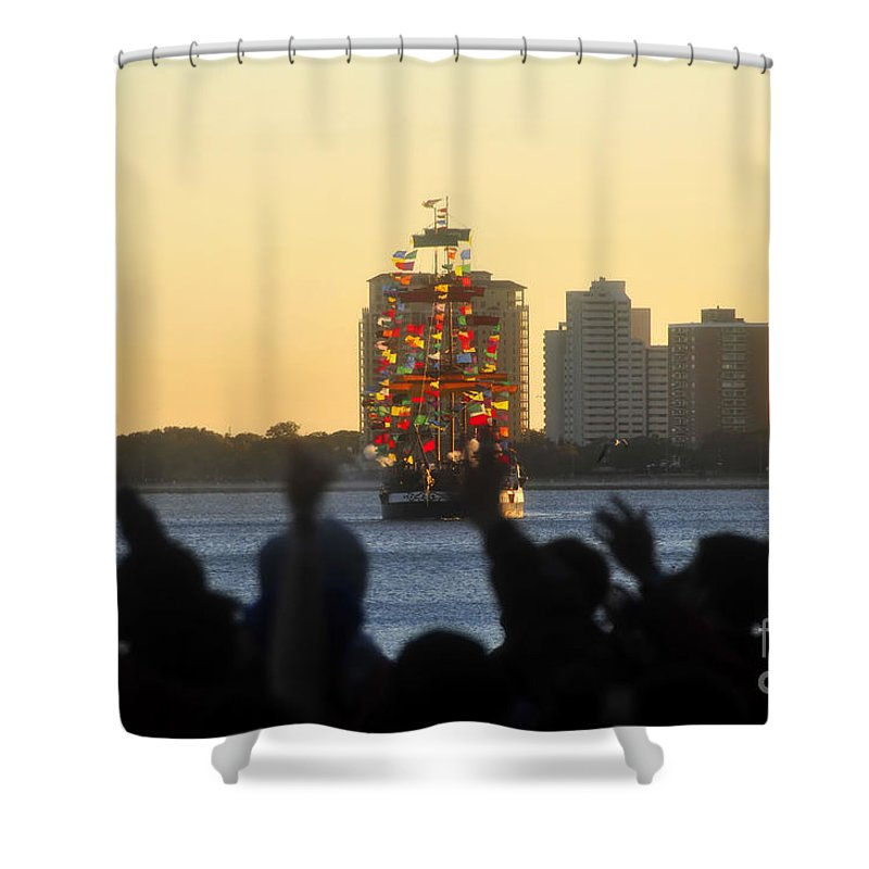 Gasparilla Pirate Festival Tampa Bay Florida Shower Curtain featuring the photograph Flag Ship by David Lee Thompson
