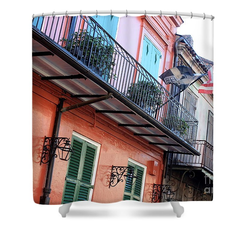 New Orleans Shower Curtain featuring the photograph Flags On The Balcony by Carol Groenen