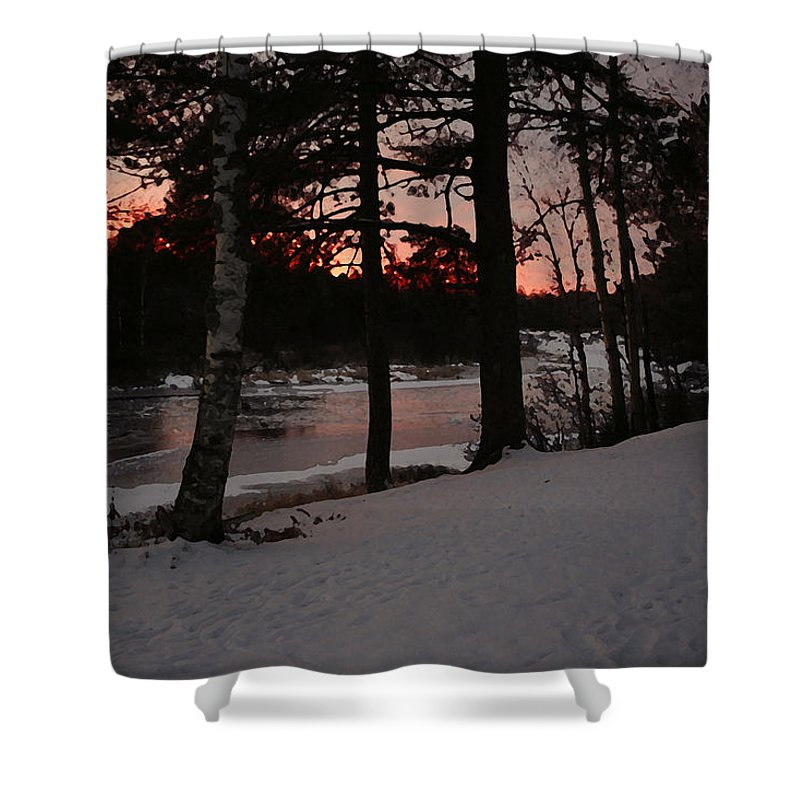 Sunset Shower Curtain featuring the photograph Flambeau Sunset by Frank Guemmer