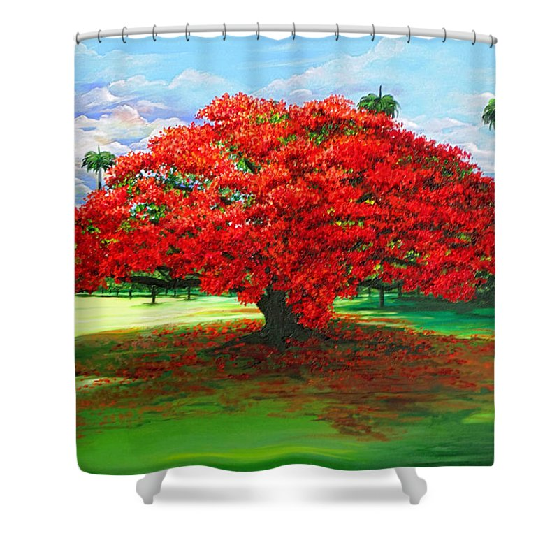 Flamboyant Tree Shower Curtain featuring the painting Flamboyant Ablaze by Karin Dawn Kelshall- Best