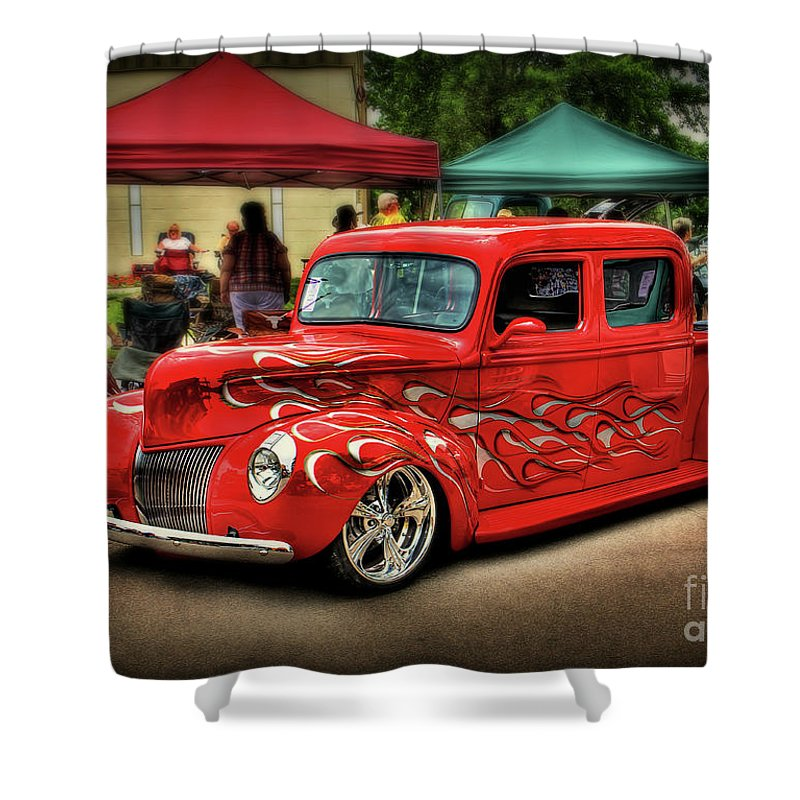 Hot Rod Shower Curtain featuring the photograph Flame Hot Truck by Perry Webster