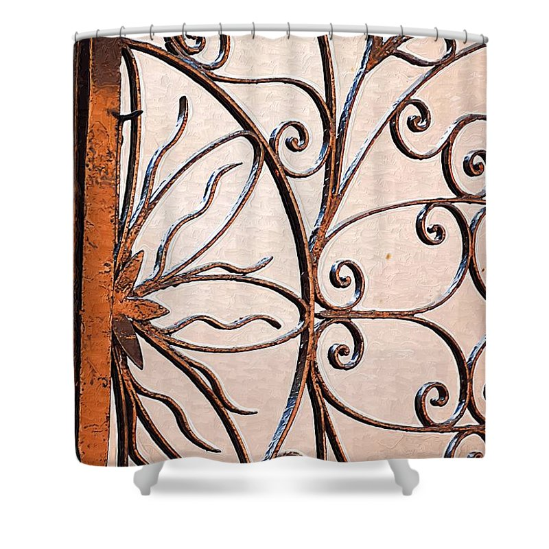 Gates Shower Curtain featuring the photograph Flame Iron Works by Donna Bentley