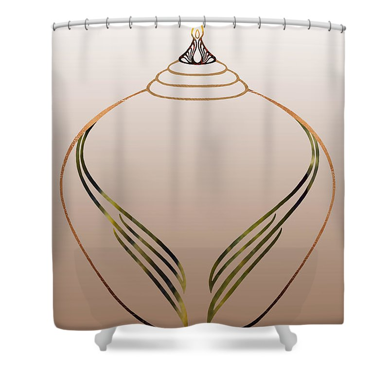Funeral Urn Shower Curtain featuring the drawing Flame Leaf Ginger Jar by Alycia Christine