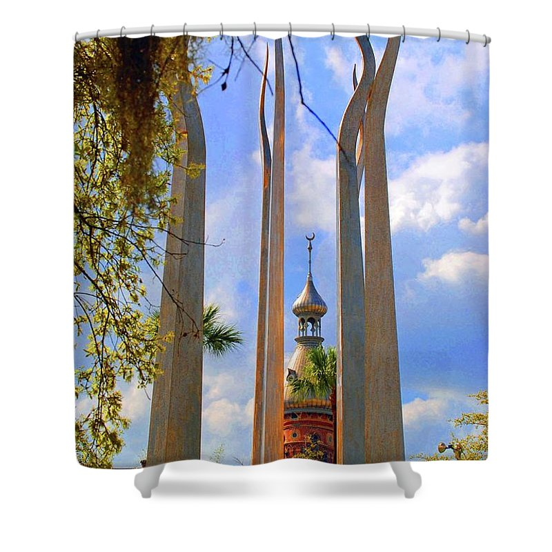 University Of Tampa Shower Curtain featuring the photograph flame of the Sky by Jost Houk
