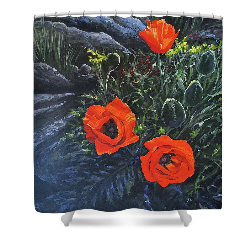 Poppy Shower Curtain featuring the painting Flame of the West by Hunter Jay
