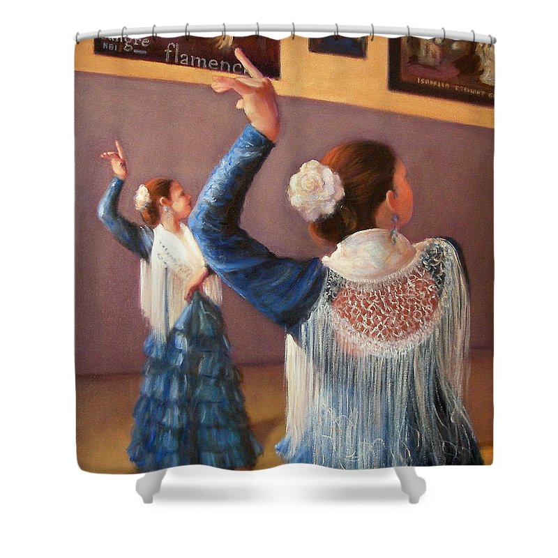 Realism Shower Curtain featuring the painting Flamenco 7 by Donelli DiMaria