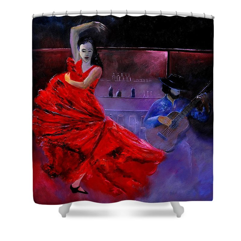 Flamenco Shower Curtain featuring the painting Flamenco 88 by Pol Ledent
