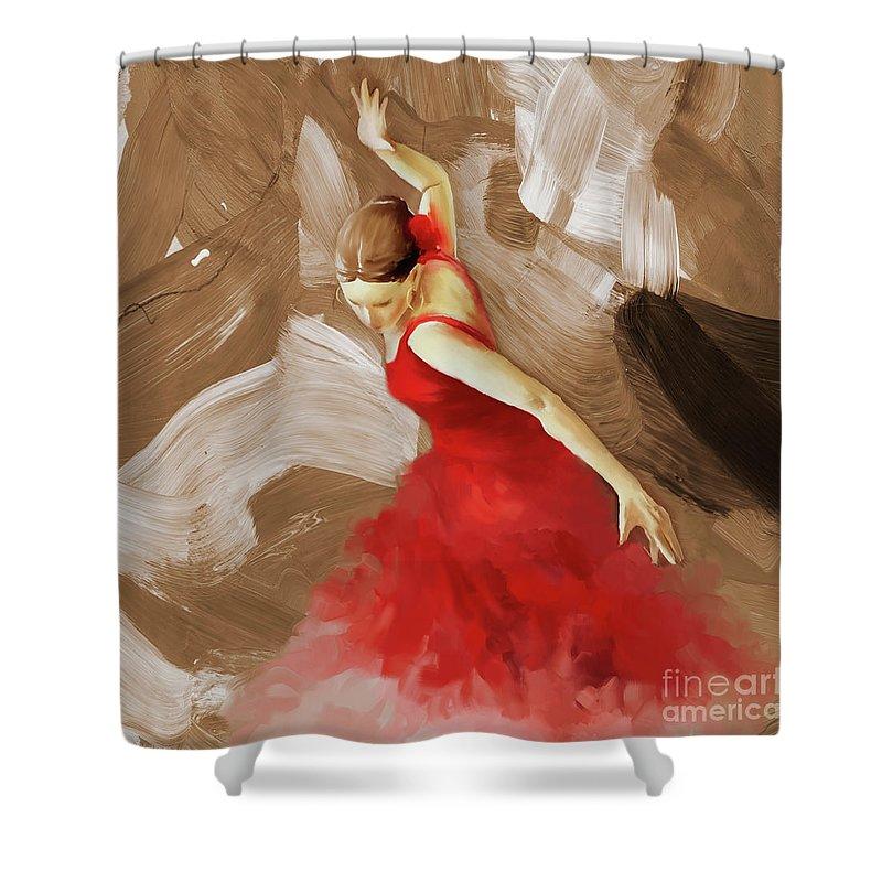 Flamenco Shower Curtain featuring the painting Flamenco Dance Women 02 by Gull G