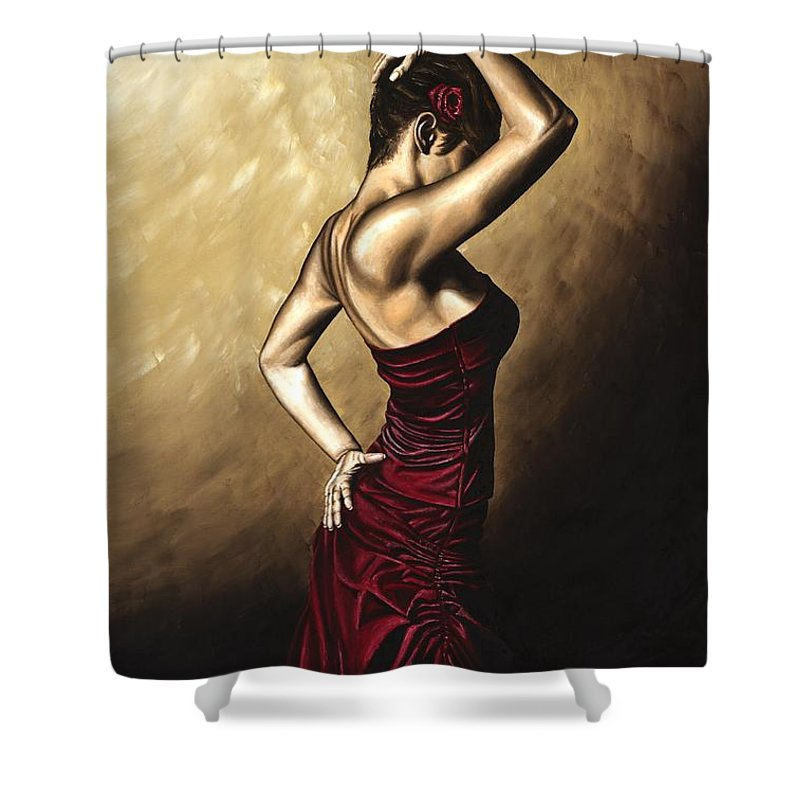 Flamenco Shower Curtain featuring the painting Flamenco Woman by Richard Young