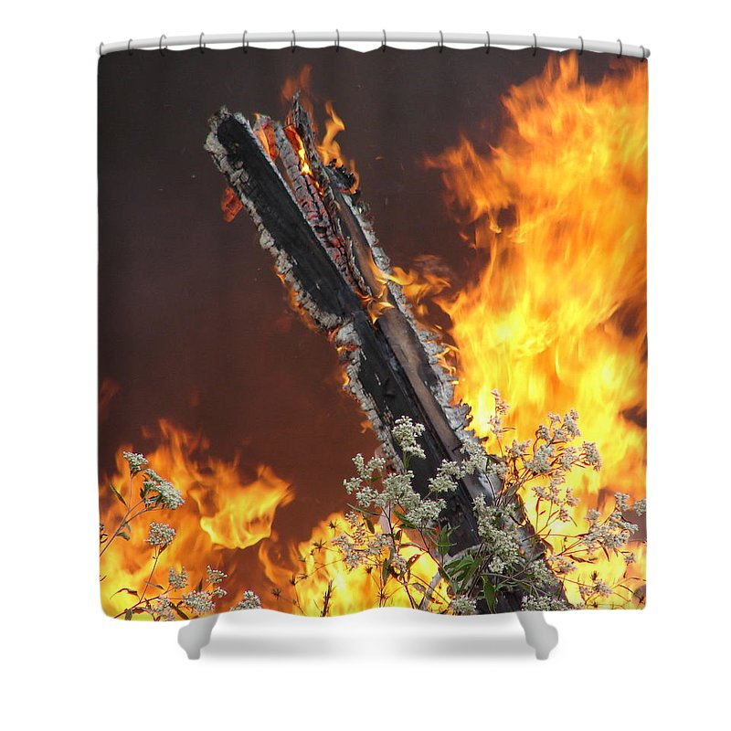 Fire Wood Flames Flowers Shower Curtain featuring the photograph Flames Of Age by Luciana Seymour