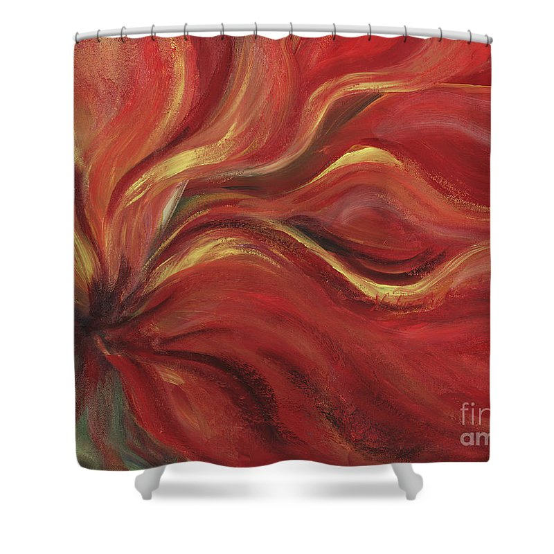 Red Shower Curtain featuring the painting Flaming Flower by Nadine Rippelmeyer