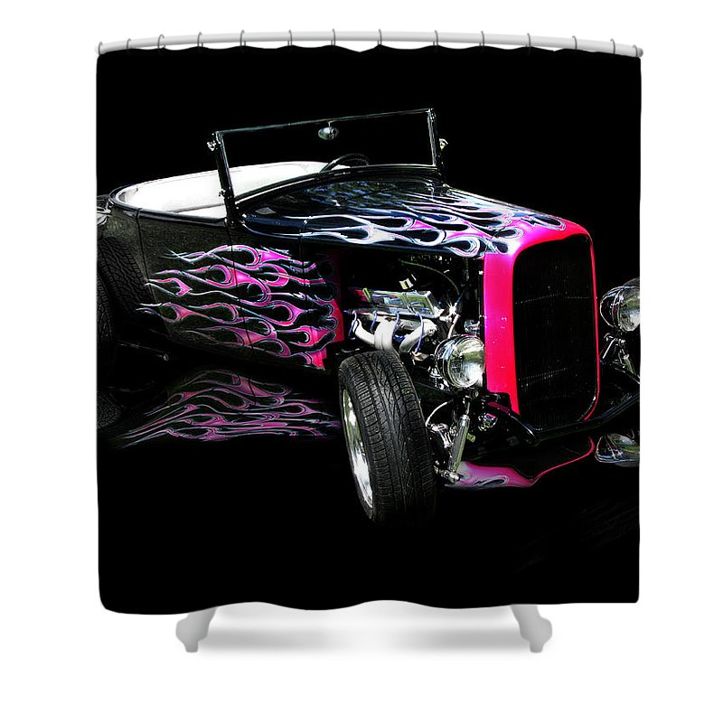 Flaming Hot Roadster Shower Curtain featuring the photograph Flaming Hot Roadster by Peter Piatt