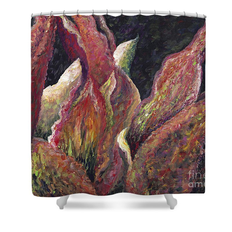 Leaves Shower Curtain featuring the painting Flaming Leaves by Nadine Rippelmeyer