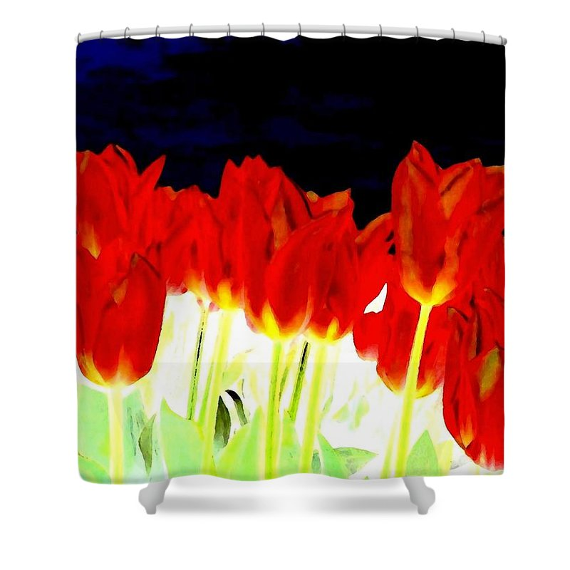 Red Tulips Shower Curtain featuring the digital art Flaming Red Tulips by Will Borden