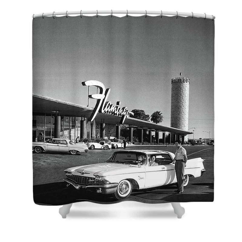 Las Vegas Shower Curtain featuring the photograph Flamingo Hotel Opening 1950 by Doc Braham