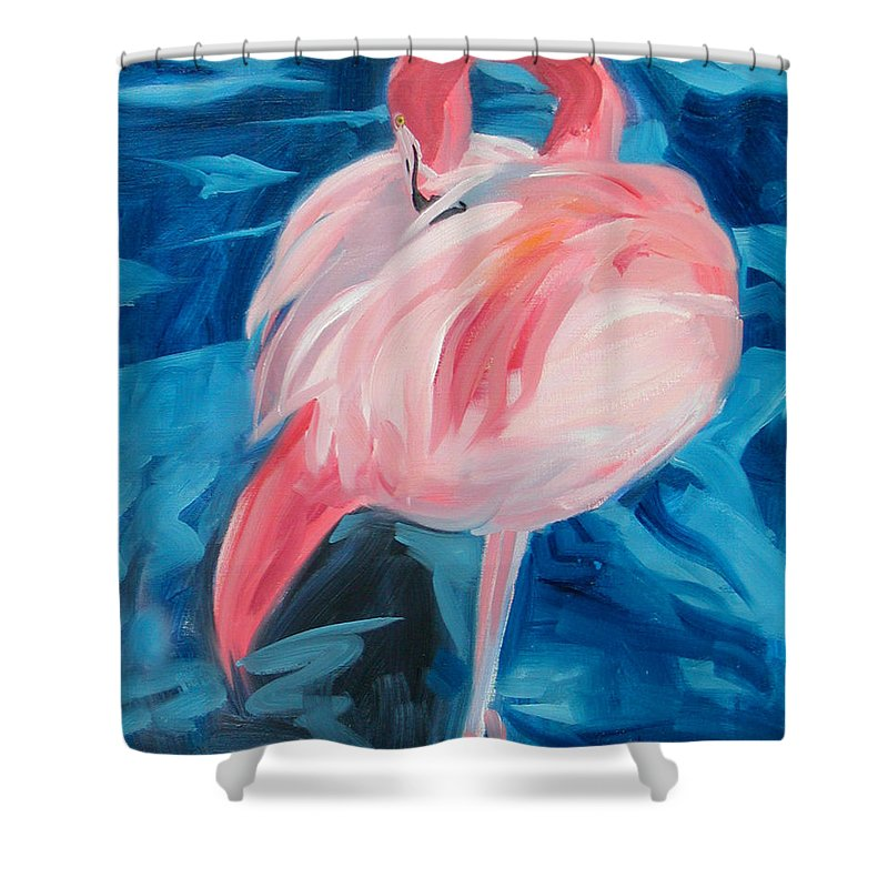 Tropical Shower Curtain featuring the painting Flamingo by Neal Smith-Willow