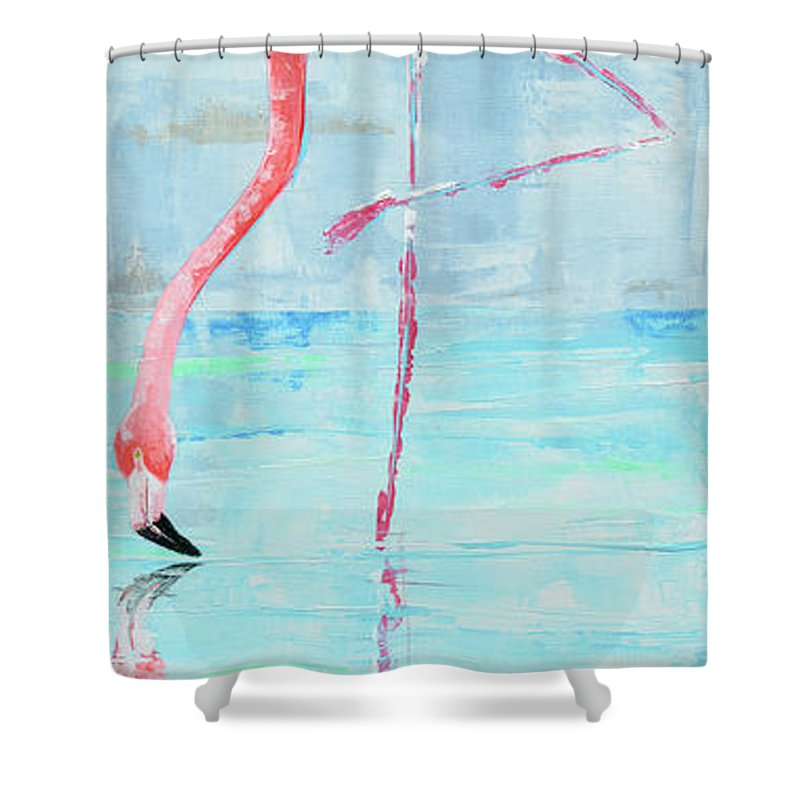 Flamingo Shower Curtain featuring the painting Flamingo by Paola Correa de Albury