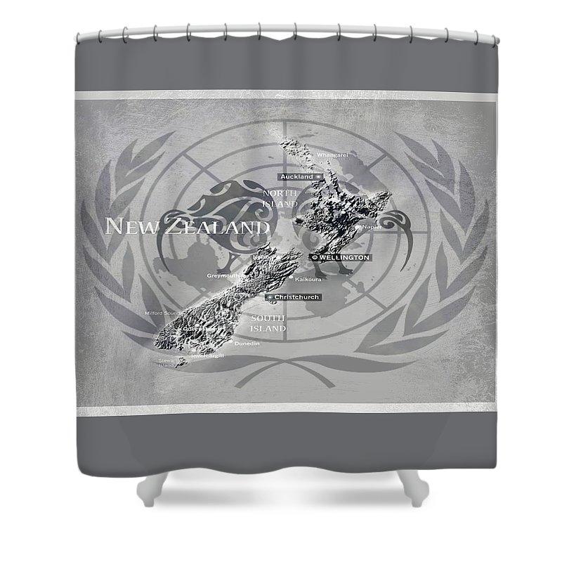 Flat Earth Nz Flag Shower Curtain featuring the digital art Flat Earth Flag by Meiers Daniel