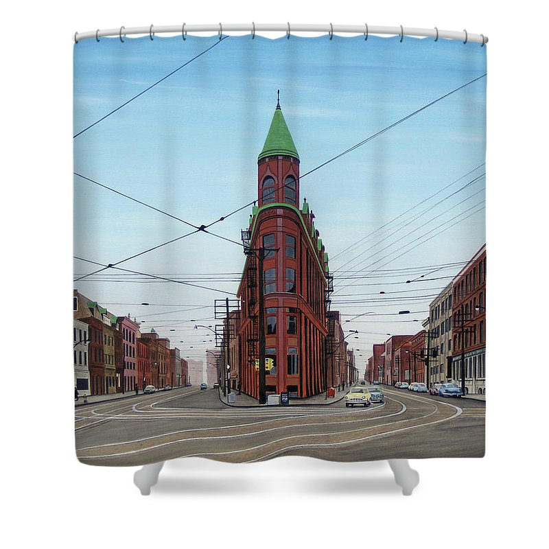 Streetscapes Shower Curtain featuring the painting Flatiron Building 1955 by Kenneth M Kirsch