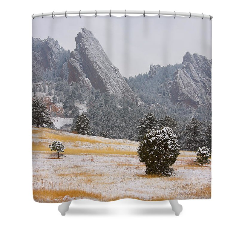Flatirons Shower Curtain featuring the photograph Flatiron Meadows - Boulder Colorado by James BO Insogna