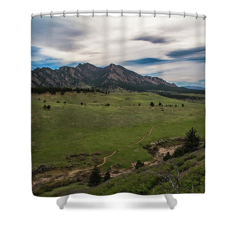 Artisans Shower Curtain featuring the photograph Flatirons From South Trails by Cary Leppert