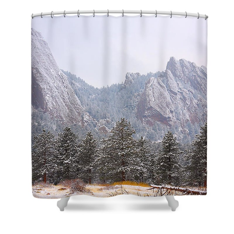 Flatirons Shower Curtain featuring the photograph Flatirons From The South Boulder Colorado by James BO Insogna