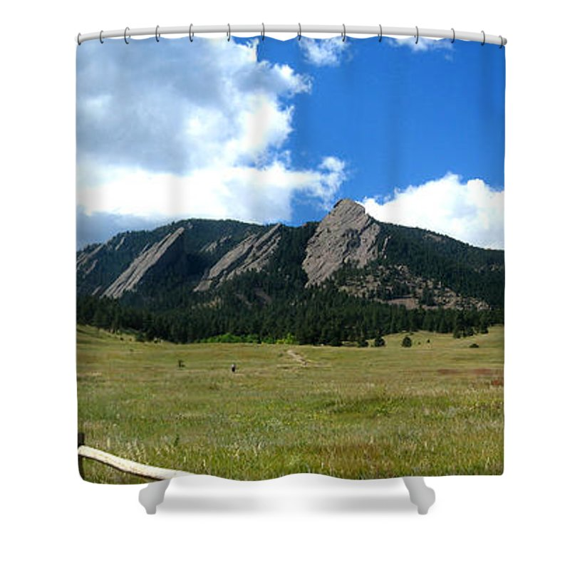 Flatiron Shower Curtain featuring the photograph Flatirons Panorama by Thomas Marchessault