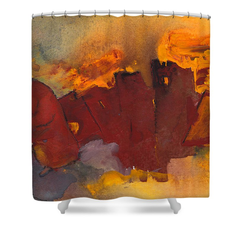 Fantasy Shower Curtain featuring the painting Fleeing The Inferno by Miki De Goodaboom