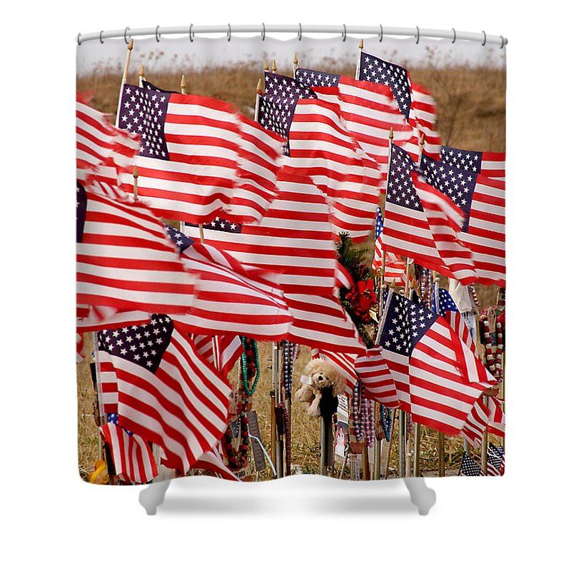 Flags Shower Curtain featuring the photograph Flight 93 Flags by Jean Macaluso