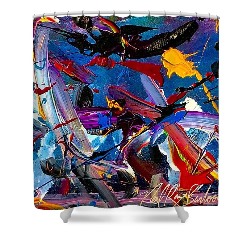 Hummingbird Bird Shower Curtain featuring the painting Flight Of A Huming Bird by Neal Barbosa