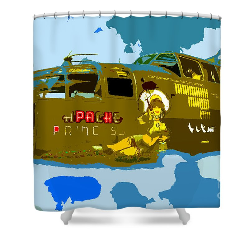 Bomber Shower Curtain featuring the painting Flight Of The Apache Princess by David Lee Thompson