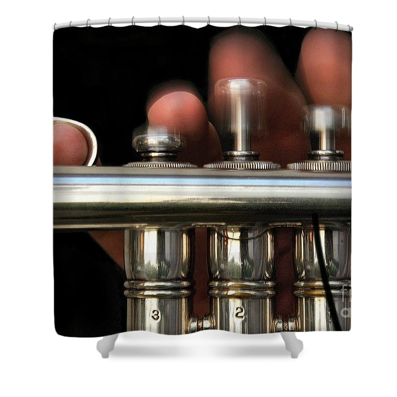 Trumpet Shower Curtain featuring the photograph Flight Of The Bumblebee by Dan Holm