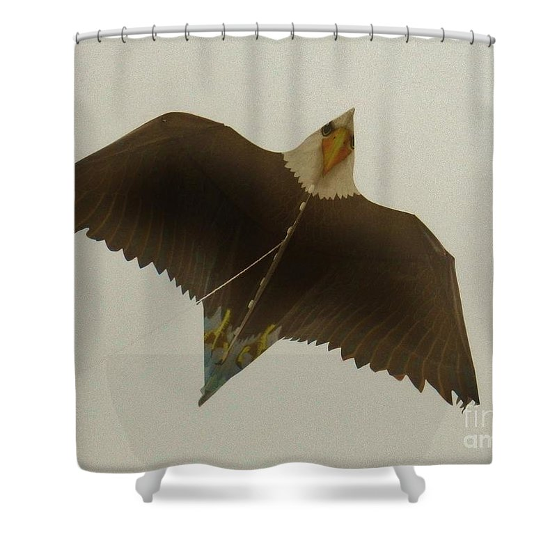 Flight Of The Eagle Shower Curtain featuring the photograph Flight Of The Eagle by Snapshot Studio