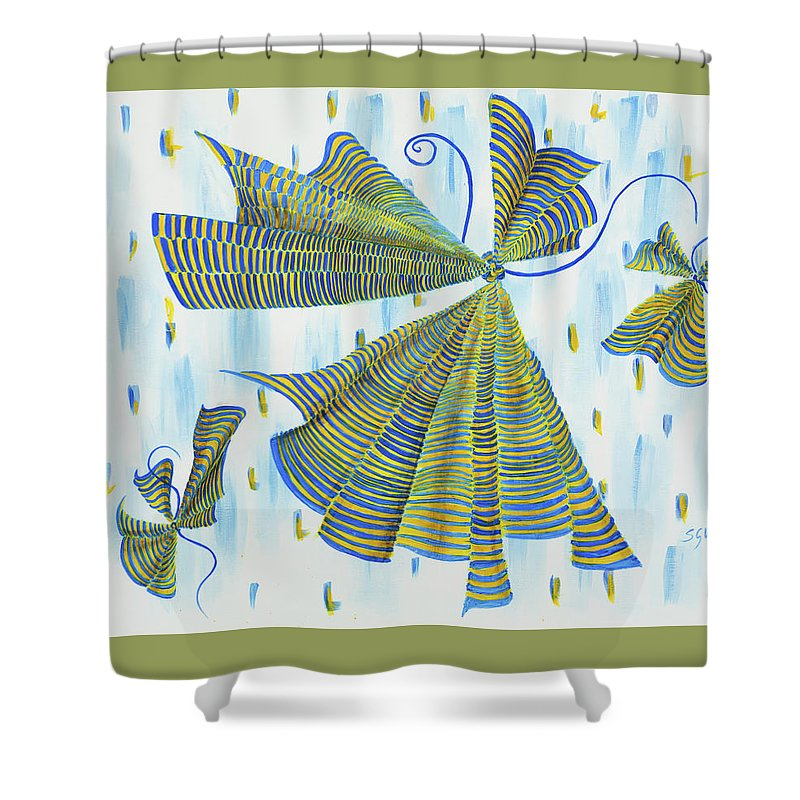 Intuitive Shower Curtain featuring the painting Flights Of Fancy by Sharon Whitewood
