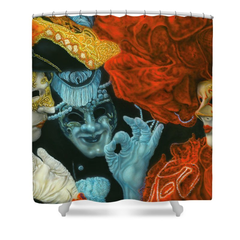 Shower Curtain featuring the painting Flirtation by Wayne Pruse