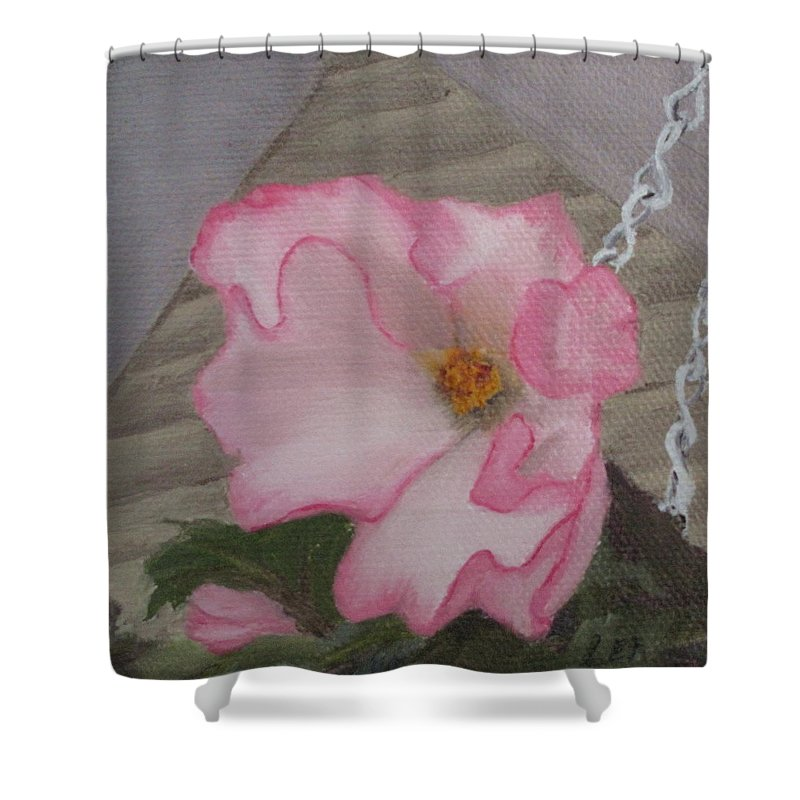 Flower Shower Curtain featuring the painting Flirty Begonia by Lea Novak