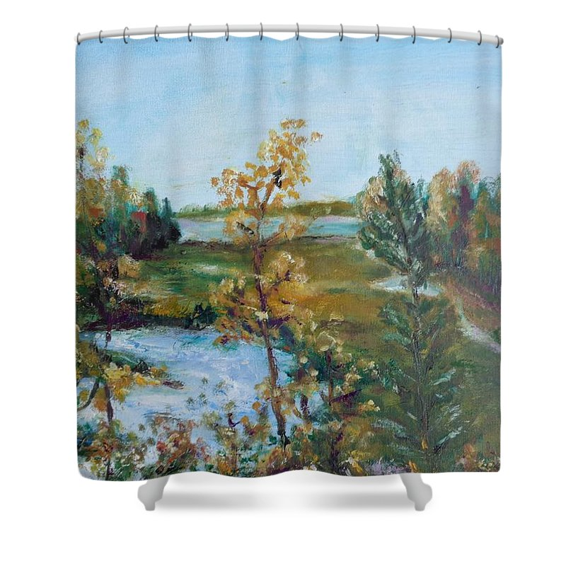 Landscape Shower Curtain featuring the painting Fll At The Oyster River by Eydie Paterson