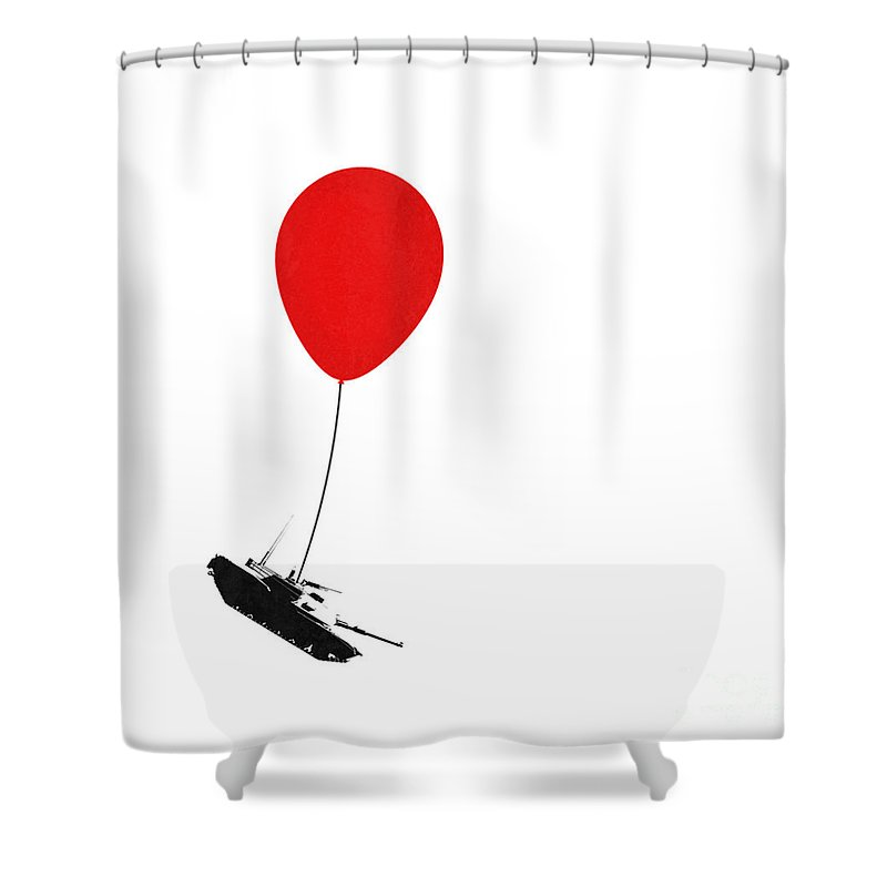 Banksy Shower Curtain Featuring The Digital Art Floating Away By Pixel Chimp
