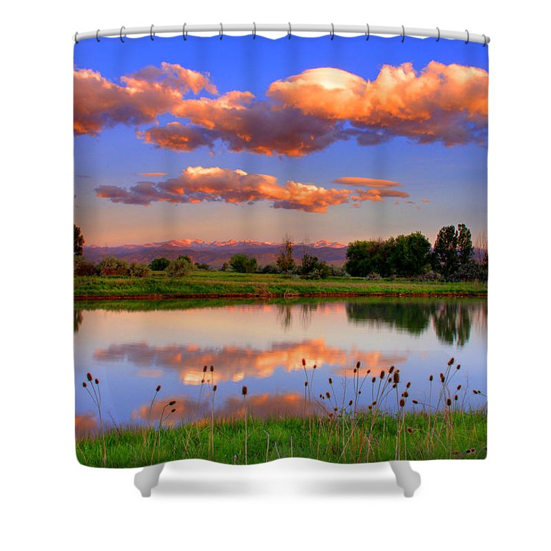 Rocky Mountains Shower Curtain featuring the photograph Floating Clouds And Reflections by Scott Mahon
