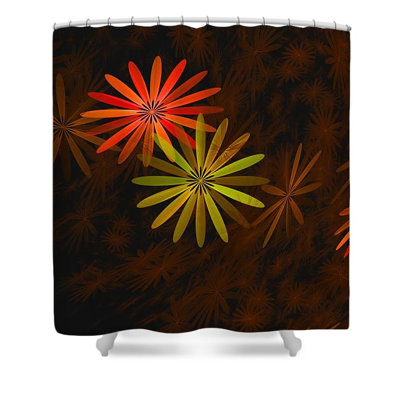 Digital Photography Shower Curtain featuring the digital art Floating Floral-008 by David Lane