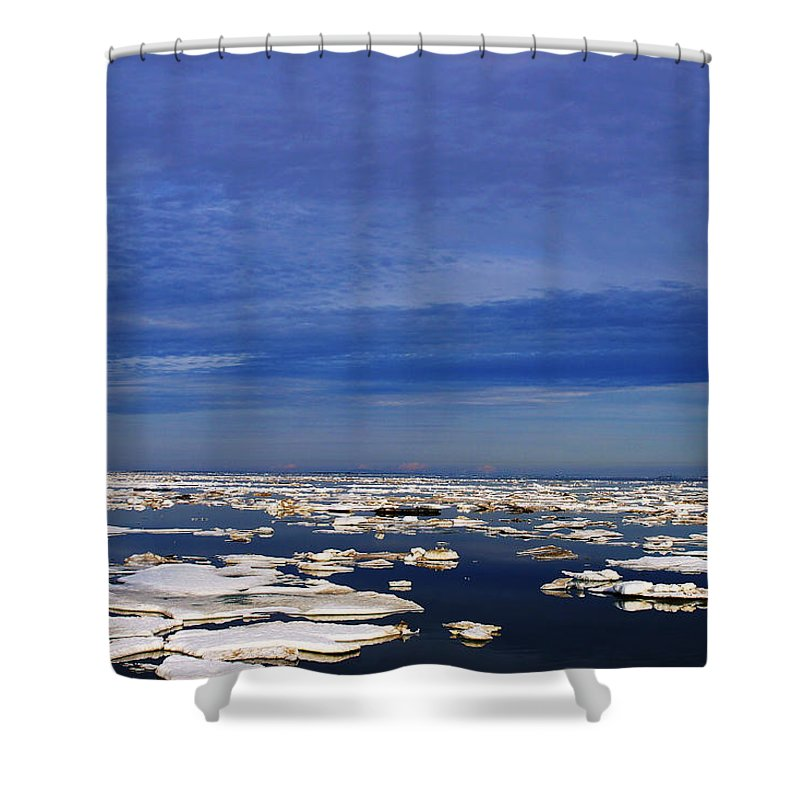 Alaska Shower Curtain featuring the digital art Floating Ice by Anthony Jones