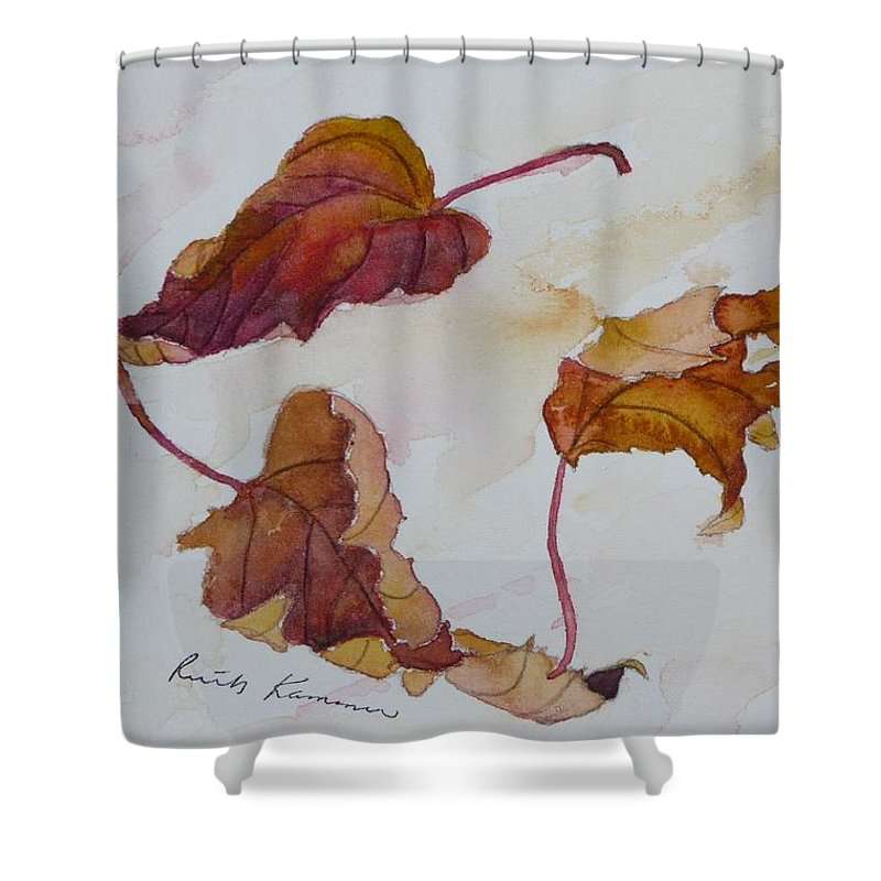 Fall Shower Curtain featuring the painting Floating by Ruth Kamenev