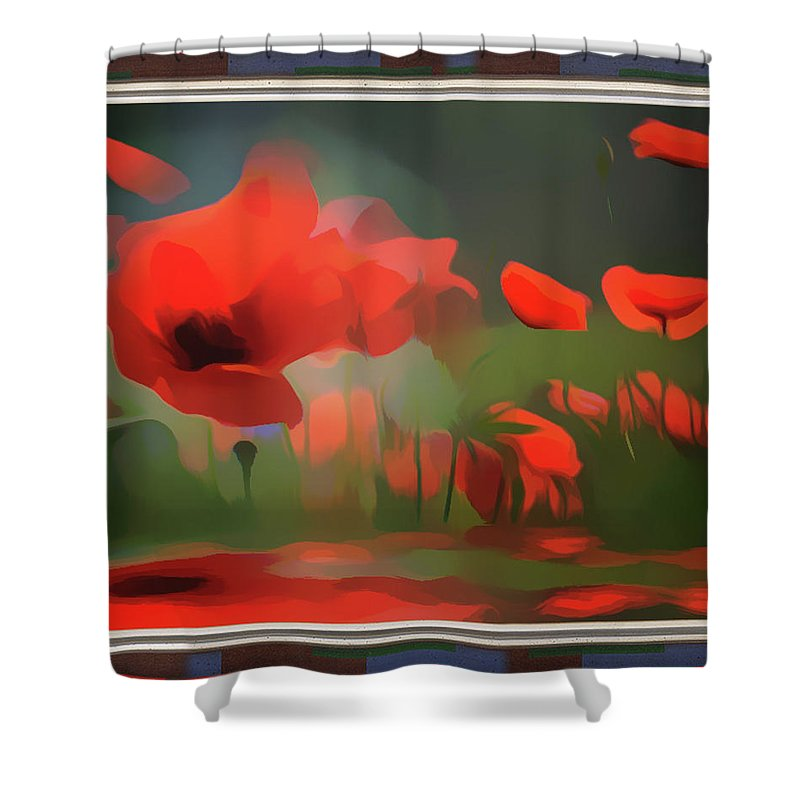 Red Shower Curtain featuring the mixed media Floating Wild Red Poppies by Clive Littin