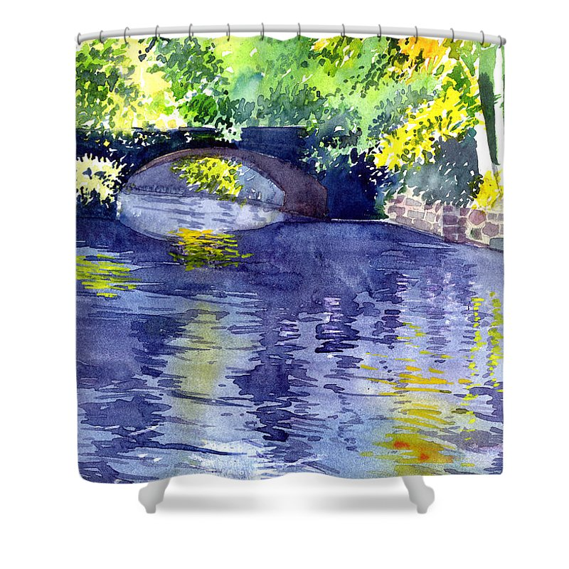 Nature Shower Curtain featuring the painting Floods by Anil Nene