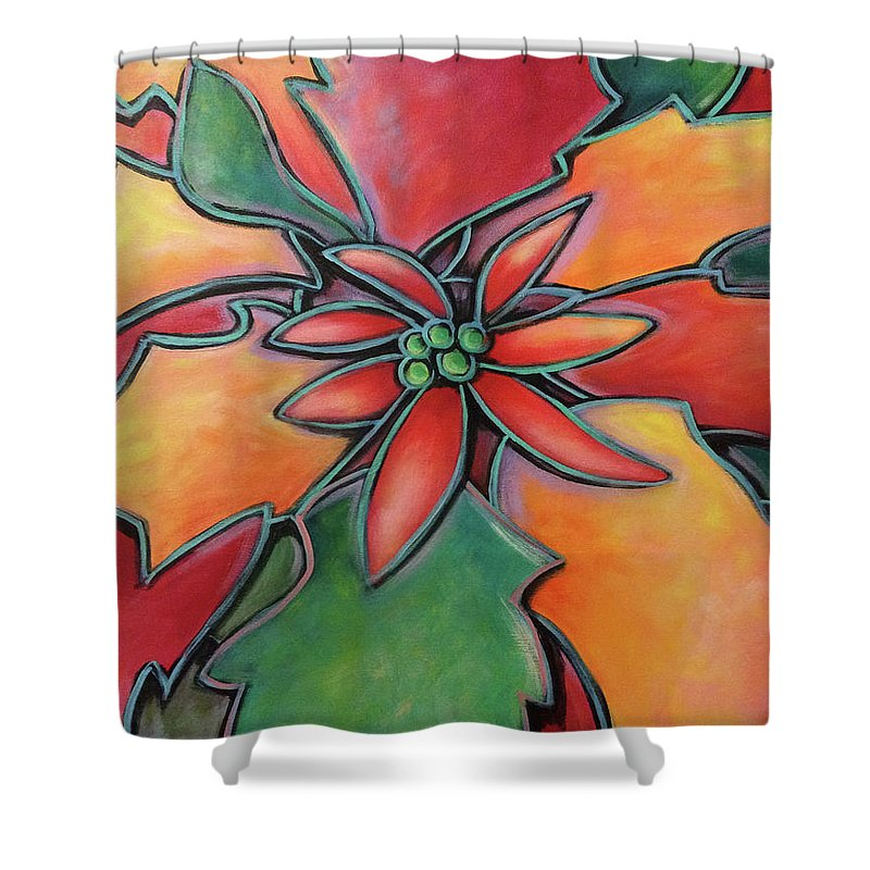 Poinsettia Shower Curtain featuring the painting Flor De Pascua by Lindi Levison