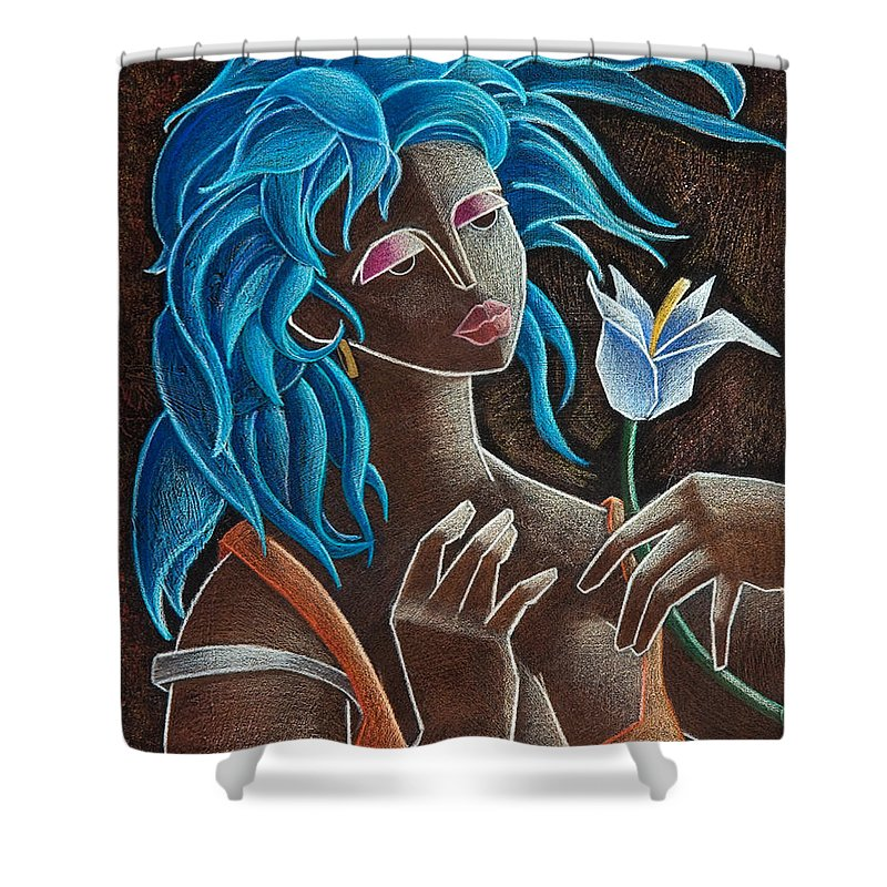 Puerto Rico Shower Curtain featuring the painting Flor Y Viento by Oscar Ortiz