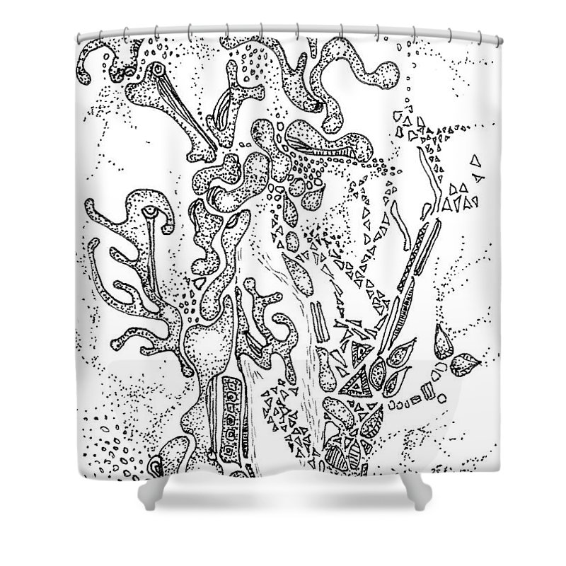 Flora Shower Curtain featuring the drawing Flora Aceo by Regina Valluzzi