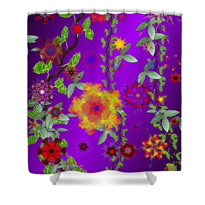 Flower Shower Curtain featuring the digital art Floral Fantasy 122410 by David Lane