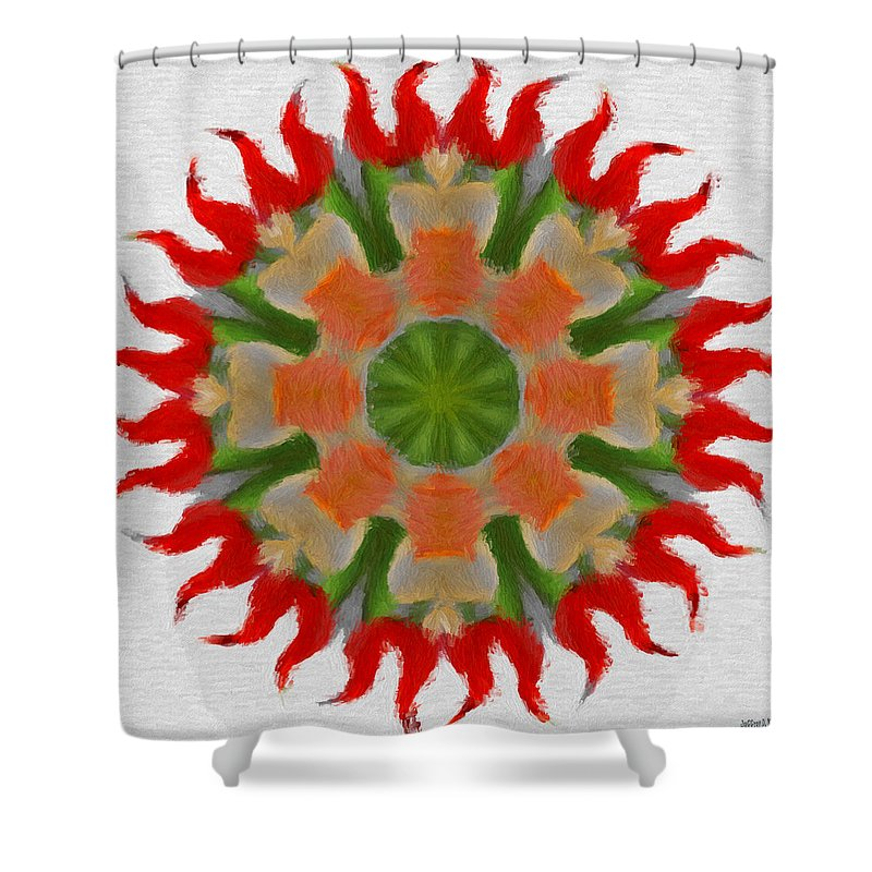 Abstract Shower Curtain featuring the painting Floral Flare by Jeffrey Kolker