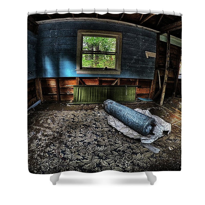 Dilapidated Shower Curtain featuring the photograph Floral Floor, Real Estate Series by Aaron James